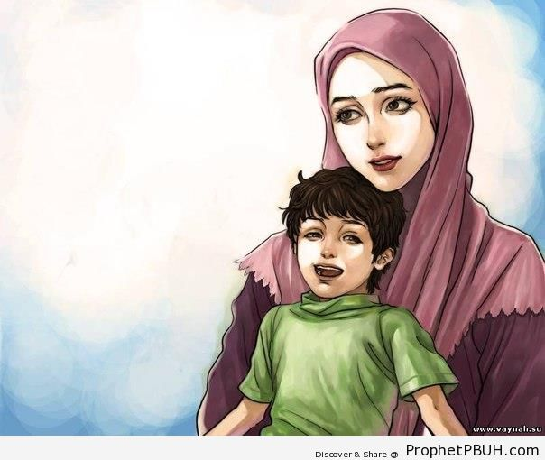 Muslim Mother and Child - Drawings