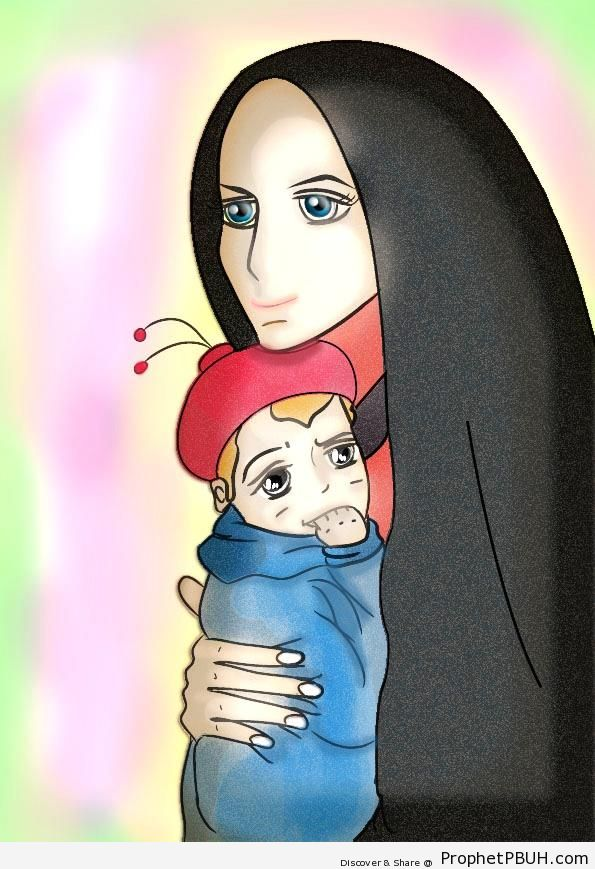 Muslim Mother and Little Boy - Drawings -002