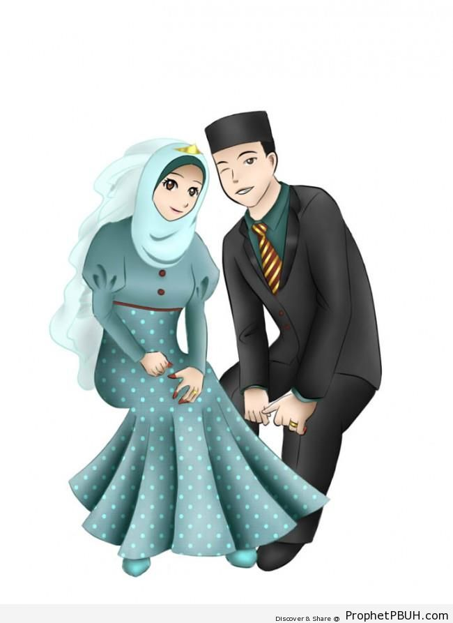 Muslim newly wed couple manga anime style drawing drawings