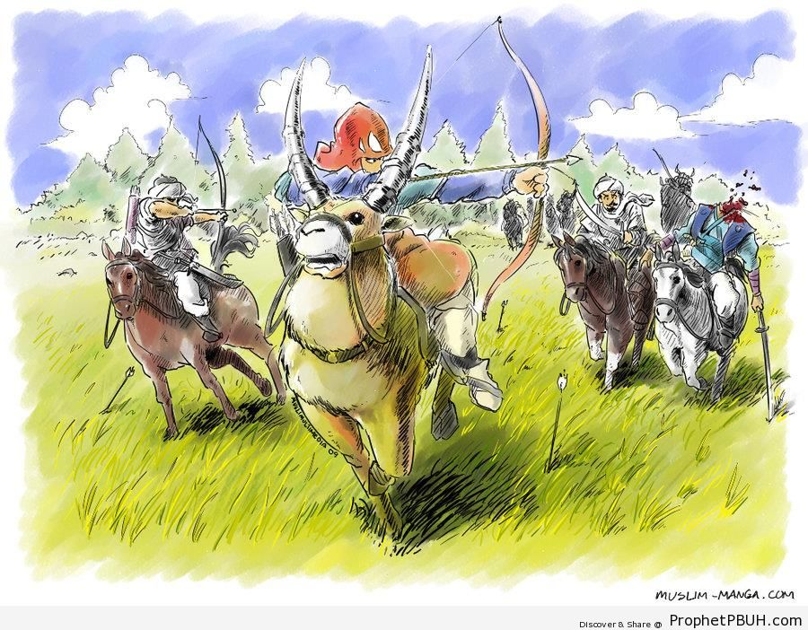 Muslim Samurai Warriors Riding Oxen and Horses - Drawings
