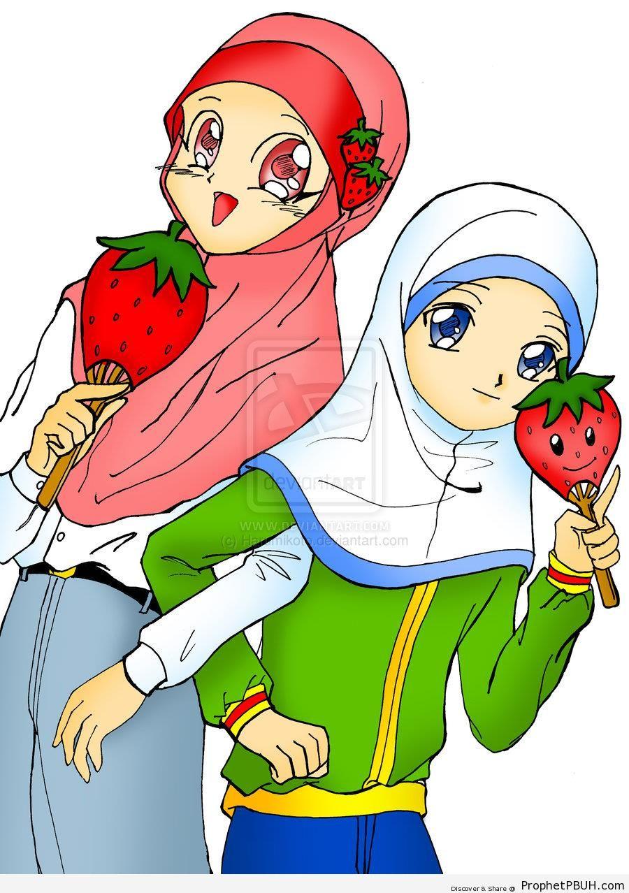 Muslim Sisterhood (Anime Girls in Red and White Hijabs) - Drawings