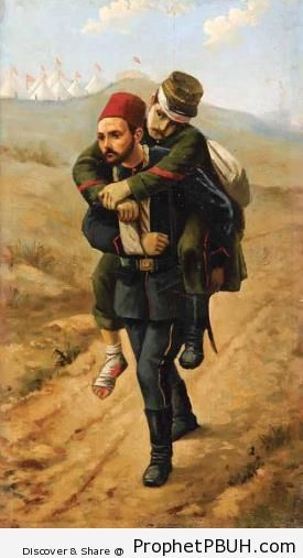 Muslim Soldier Carrying Wounded Enemy Soldier (Tripoli War, 1911) - Drawings