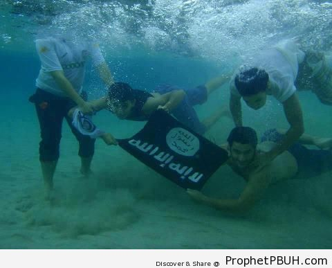 Muslim Swimmers Holding Islamic Flag Under Water - Islamic Calligraphy and Typography