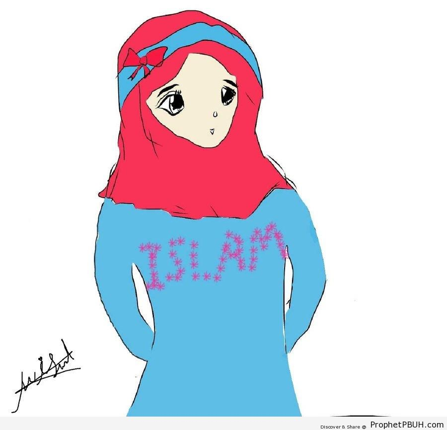 Muslim Woman Drawing With -Islam- Written on Shirt - Drawings