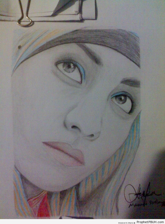 Muslim Woman Pencil Drawing - Drawings