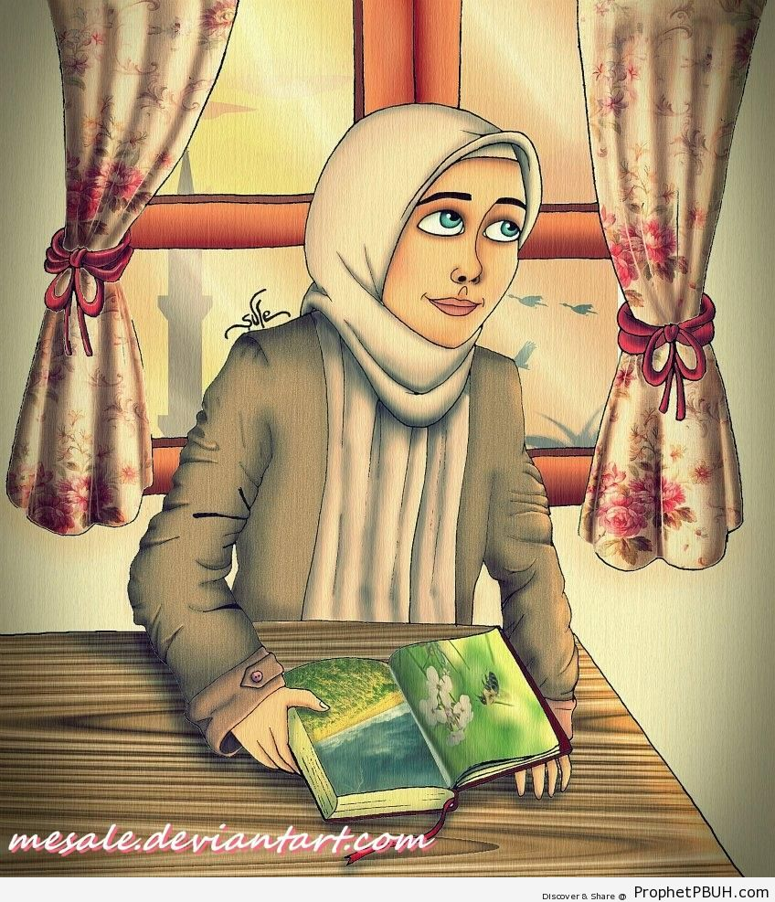Muslim Woman Reading - Drawings
