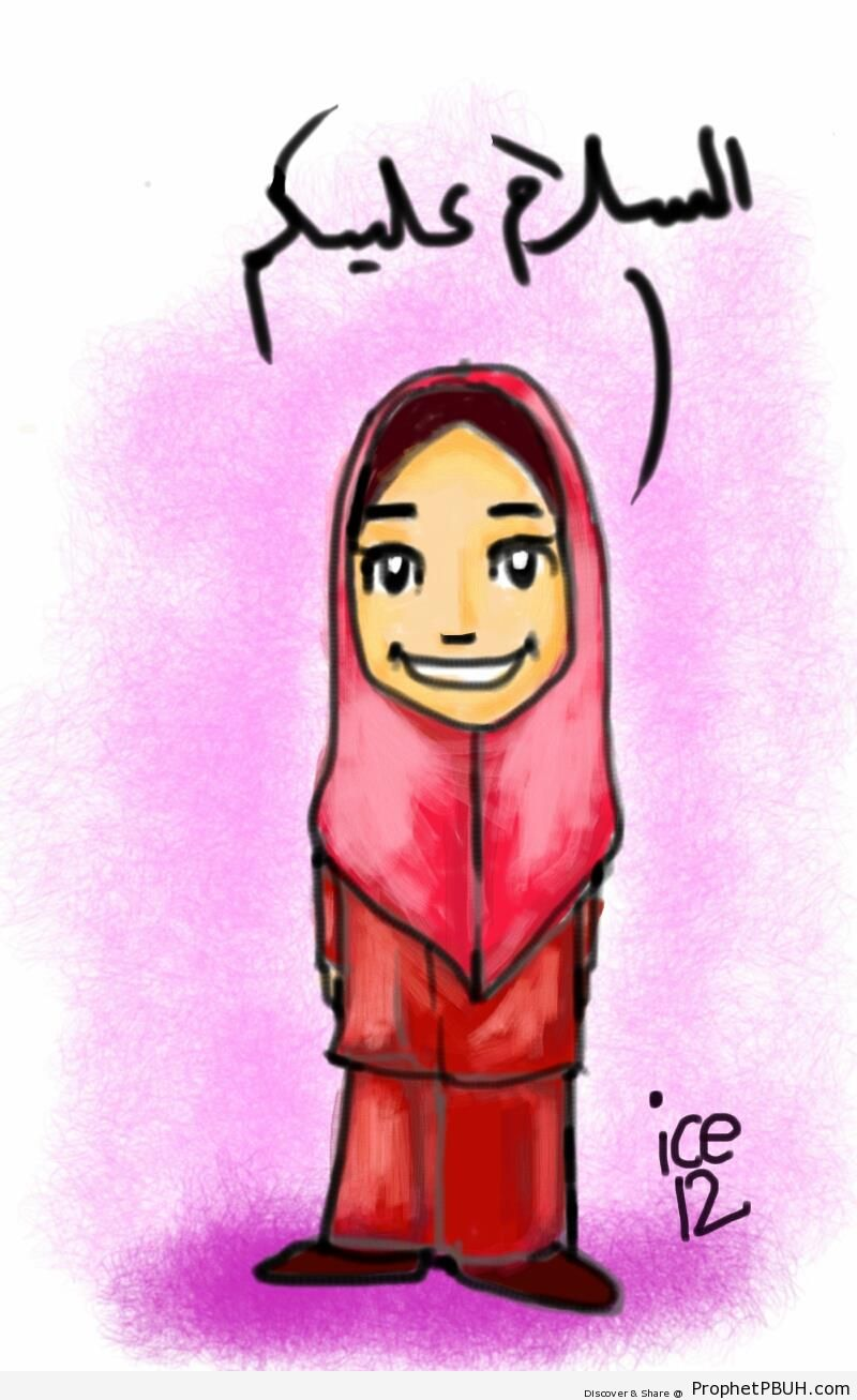 Muslim Woman Saying -Peace be with you!- (Drawing) - Drawings