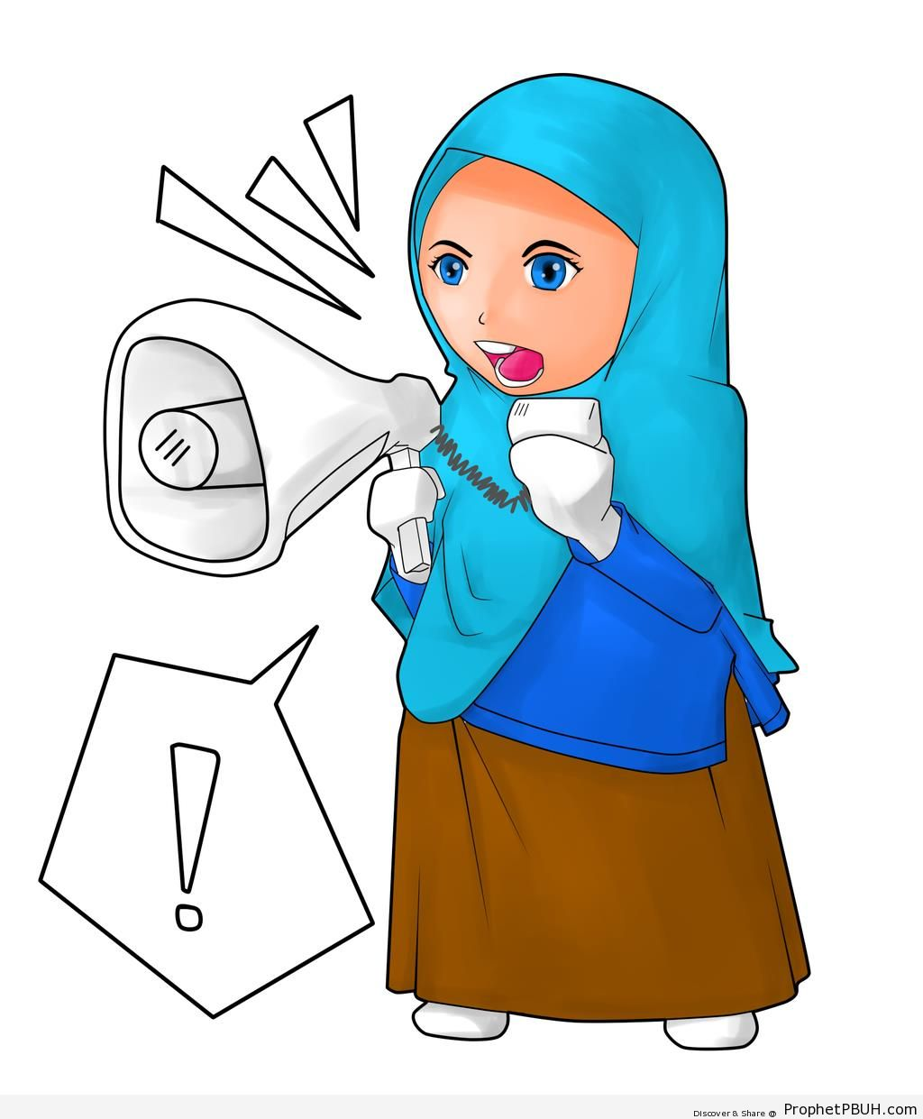 Muslim Woman Speaking Through Loudspeaker (Drawing) - Drawings