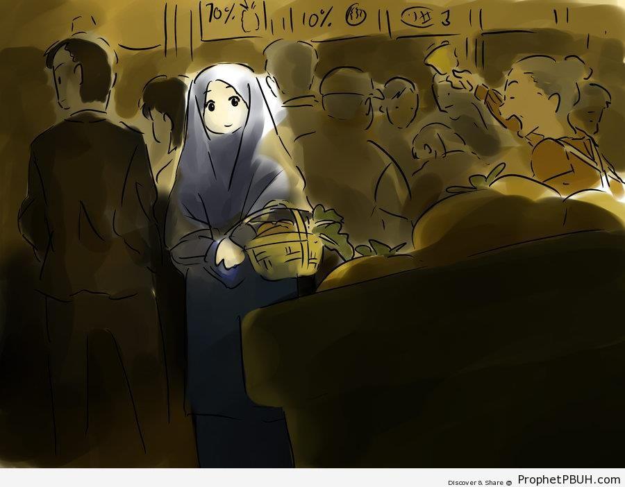 Muslim Woman at the Market in Ramadan - Drawings