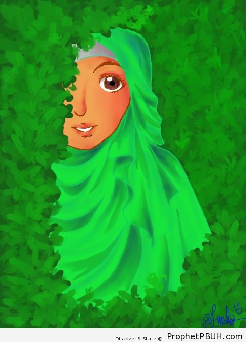 Muslimah Behind Bushes - Drawings