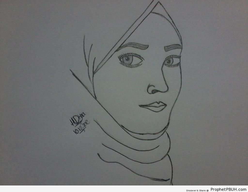 Muslimah Pencil Drawing - Drawings