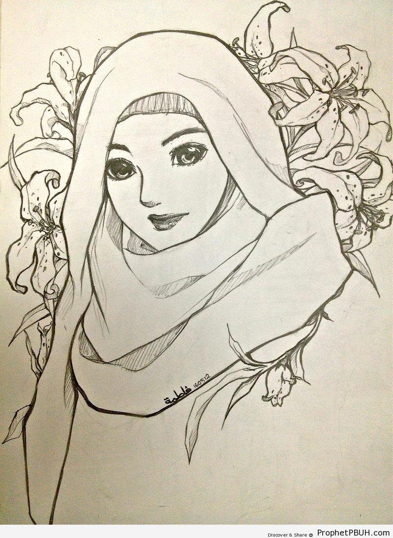 Muslimah pencil drawing drawings 005