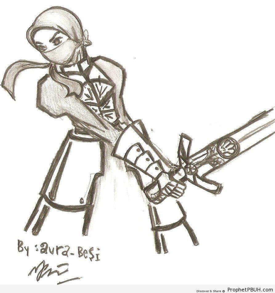 Muslimah Warrior With Sword - Drawings