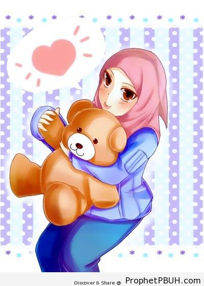 Muslimah and Her Teddy Bear - Drawings