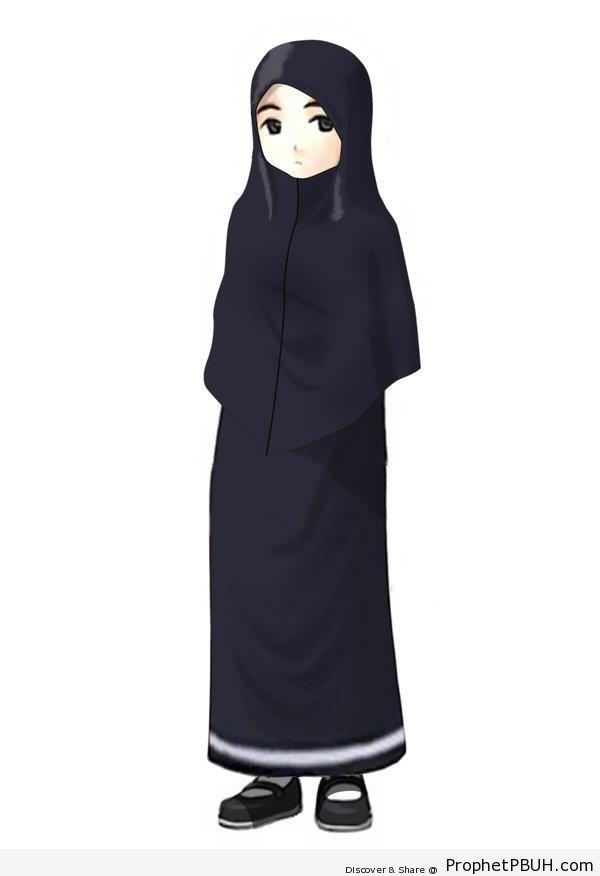 Muslimah in Black Hijab - Drawings
