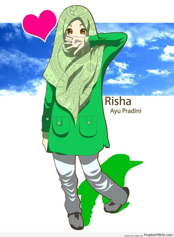 Muslimah in Green Patterned Hijab on Blue Sky - Drawings