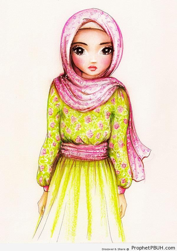 Muslimah in Pink and Green Flower Pattern Hijab - Drawings