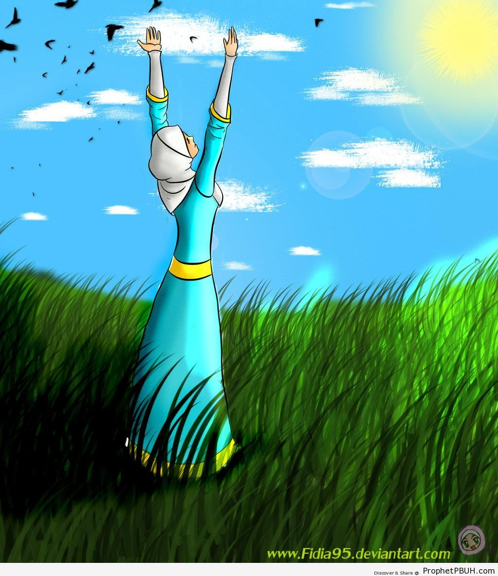 Muslimah in Sunny Green Field With Arms Raised to the Sky - Drawings