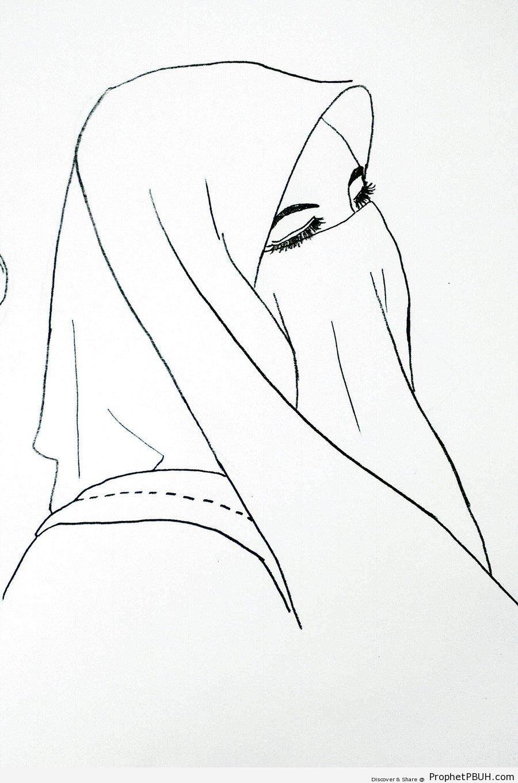 Niqab Line Drawing - Drawings