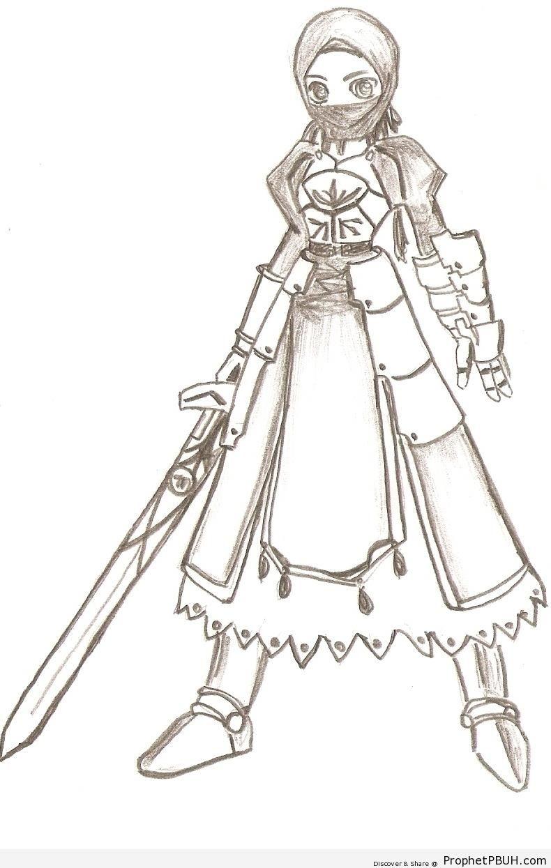 Niqabi Manga Swordswoman - Drawings