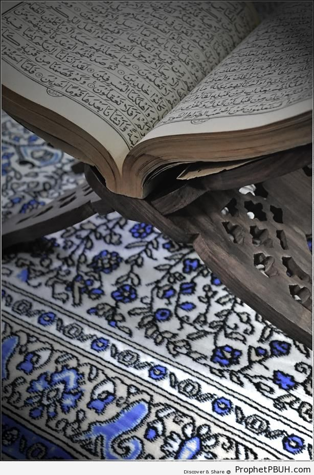 Old Book of Quran Open on Wooden Stand - Mushaf Photos (Books of Quran)