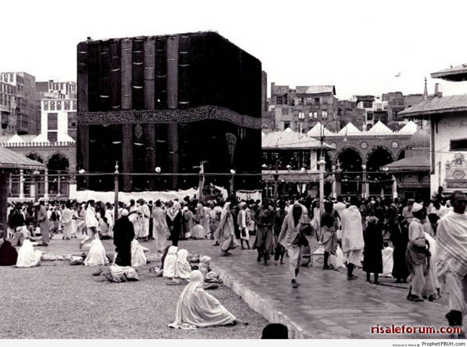 Old Photo of the Kaba in 1937 - al-Masjid al-Haram in Makkah, Saudi Arabia -Picture