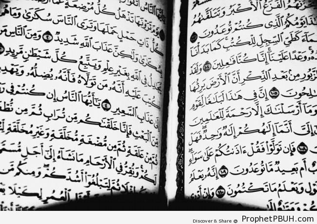 Open Book of Quran on Surat al-Anbya- and Surat al-Haj - Mushaf Photos (Books of Quran)
