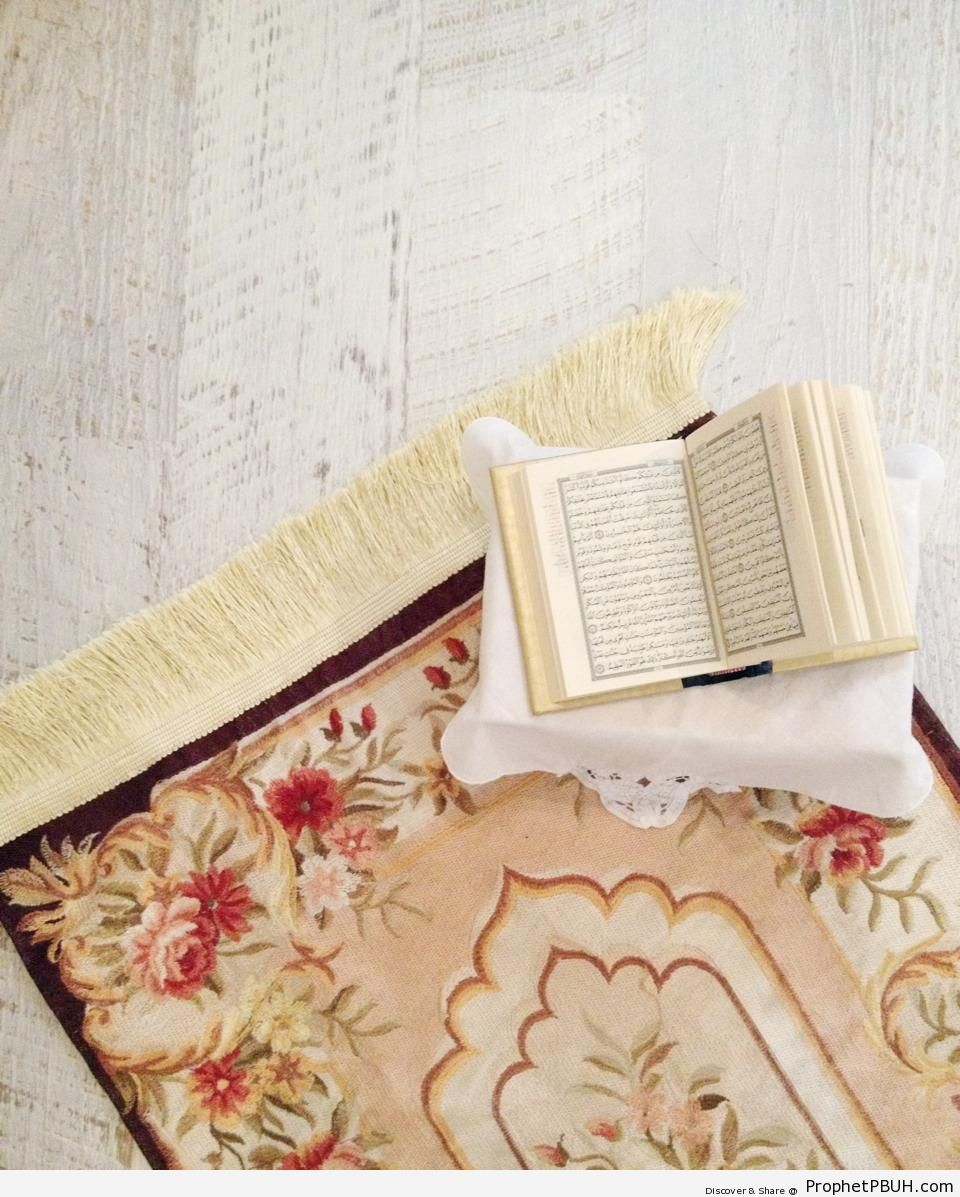Open Mushaf on Prayer Mat - Mushaf Photos (Books of Quran)