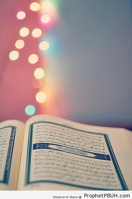 Open Mushaf with Blurred Lights - Mushaf Photos (Books of Quran)