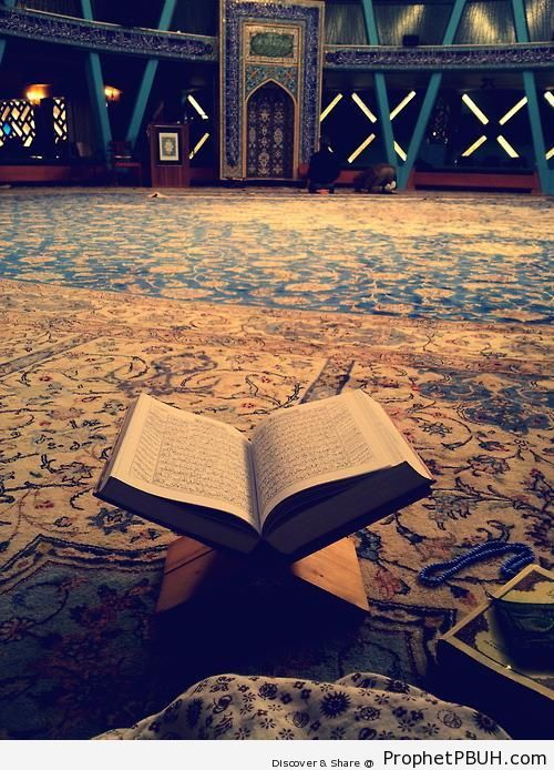 Open Quran at Mosque Prayer Hall - Islamic Architecture