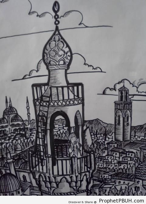 Ottoman Muezzin Calling the Adhan on Top of Minaret in Istanbul - Drawings