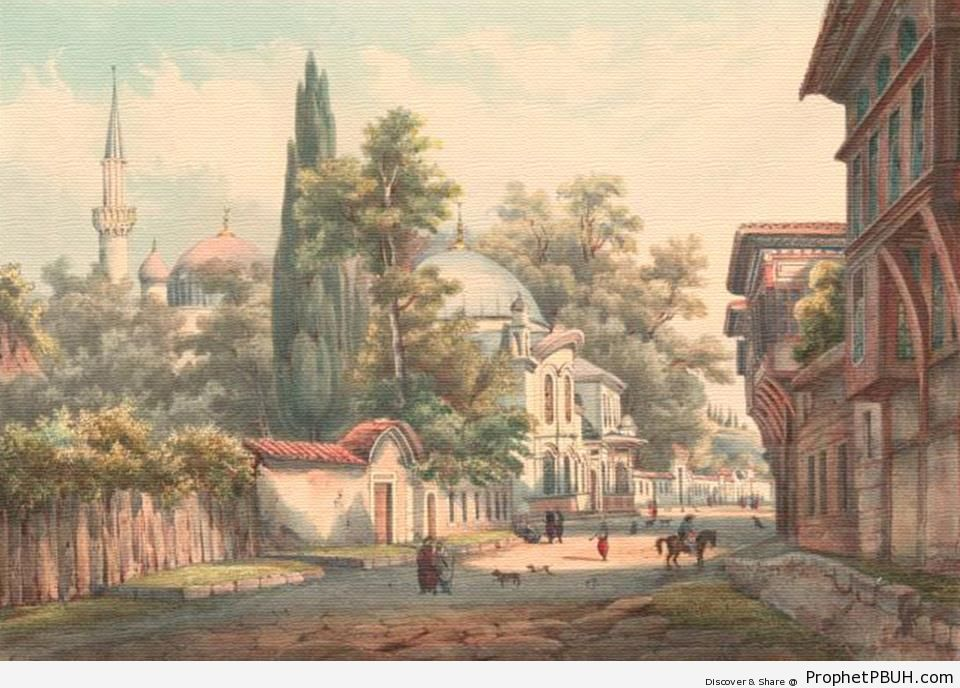 Painting of Eyüp Sultan Mosque in Istanbul, Turkey - Drawings