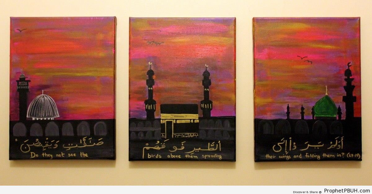 Paintings of Islam-s Most Scared Places and Quran 67-19 - Al-Aqsa Mosque (Bayt al-Muqaddas) in Jerusalem, Palestine -Picture