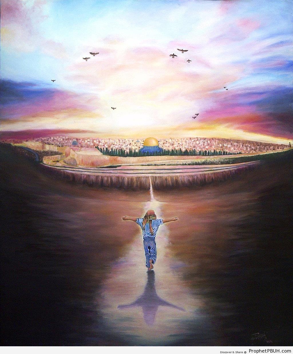 Palestinian Boy Running Toward Jerusalem - Drawings