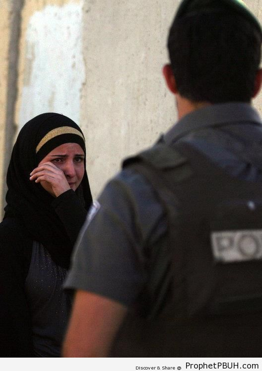 Palestinian Girl Cries After Being Denied Entrance to the Al-Aqsa Mosque by Isaeli Police - Al-Quds (Jerusalem), Palestine