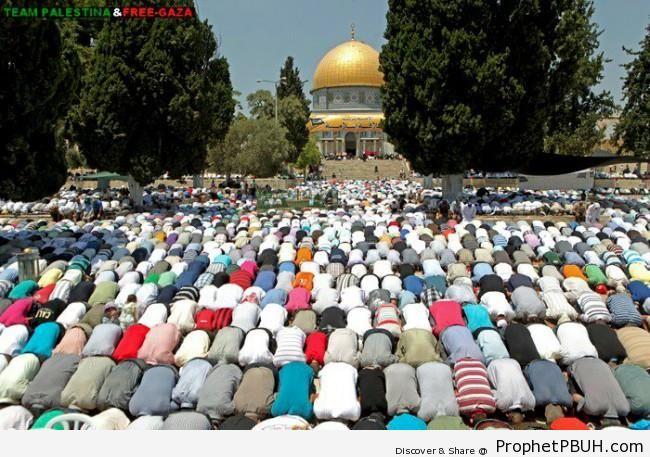 Palestinians Praying on the Third Friday on Ramadan 2012 - Al-Quds (Jerusalem), Palestine