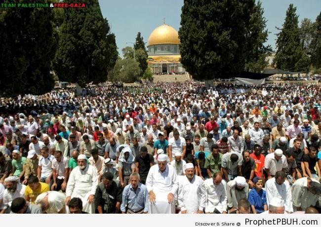 Palestinians Praying on the Third Friday on Ramadan 2012 - Al-Quds (Jerusalem), Palestine -002