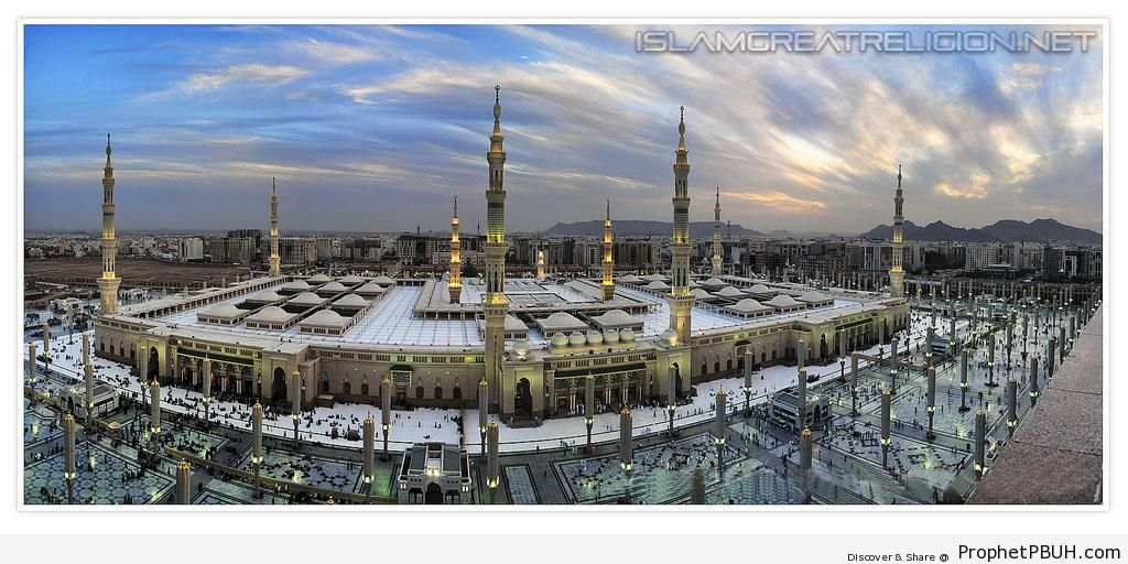 Panoramic View of the Prophet-s Mosque (Madinah, Saudi Arabia) - Al-Masjid an-Nabawi (The Prophets Mosque) in Madinah, Saudi Arabia -Picture