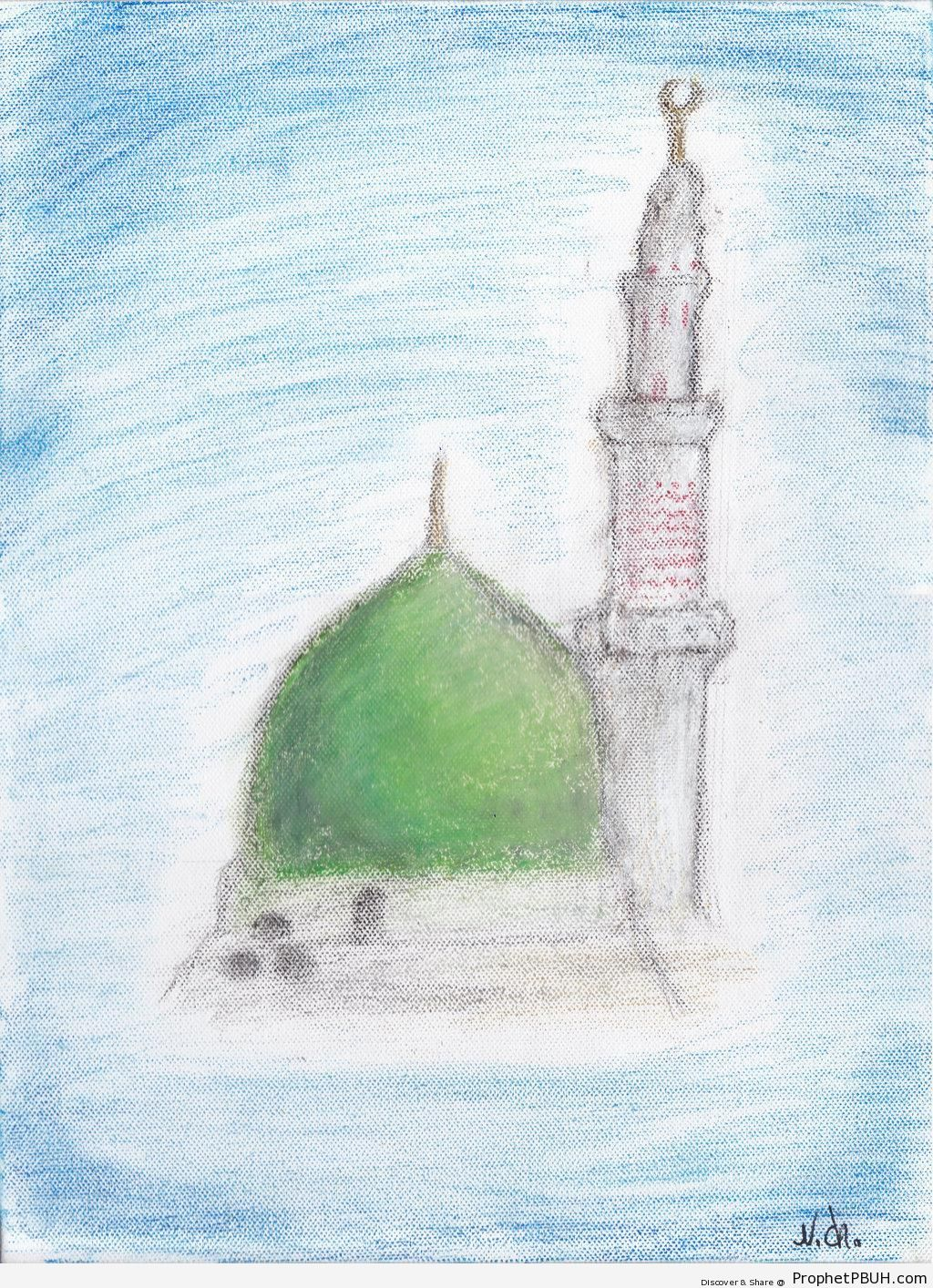 Pastel Drawing of al-Masjid an-Nabawi - Al-Masjid an-Nabawi (The Prophets Mosque) in Madinah, Saudi Arabia -Picture