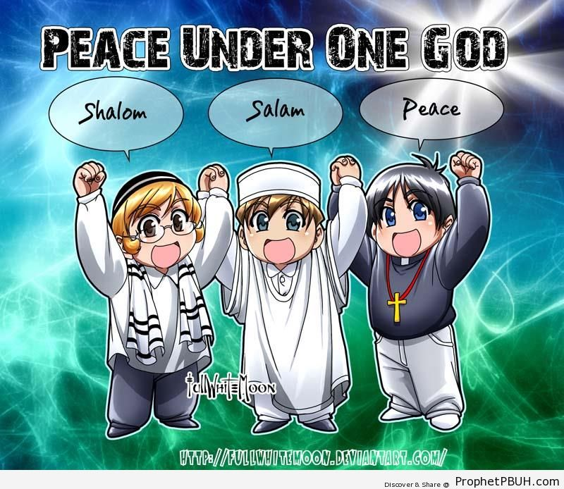 Peace Under One God (Jew, Muslim, and Christian) - Drawings