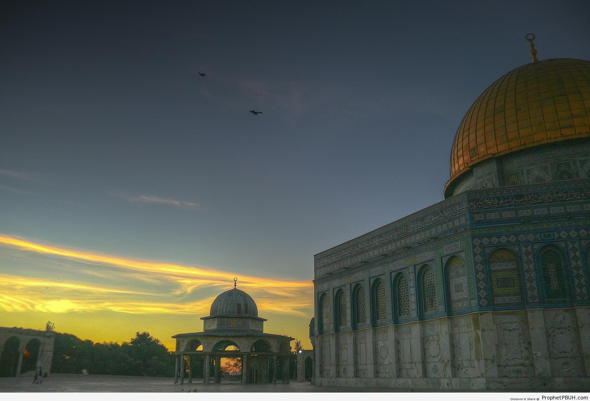 Peaceful Dawn at Dome of the Rock Mosque in Jerusalem, Palestine - Al-Quds (Jerusalem), Palestine -Picture