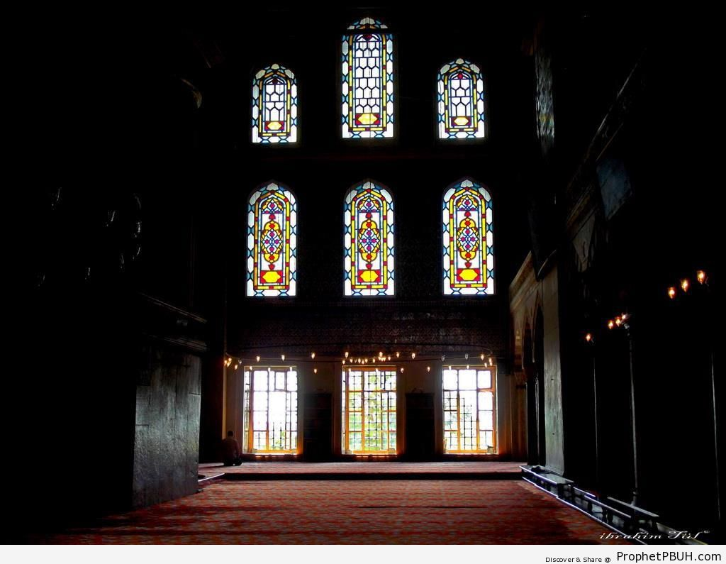 Peaceful Prayer Hall of Sultan Ahmed Mosque in Istanbul, Turkey - Islamic Architecture -Picture