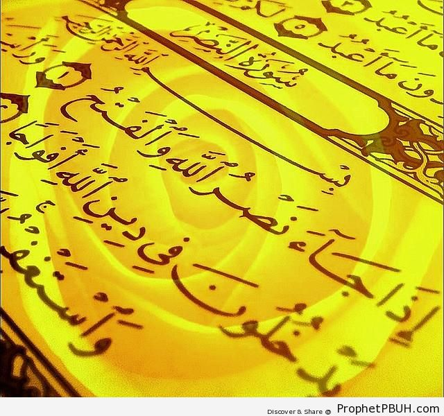 Photo of Surat an-Nasr with a rose in the background - Photos