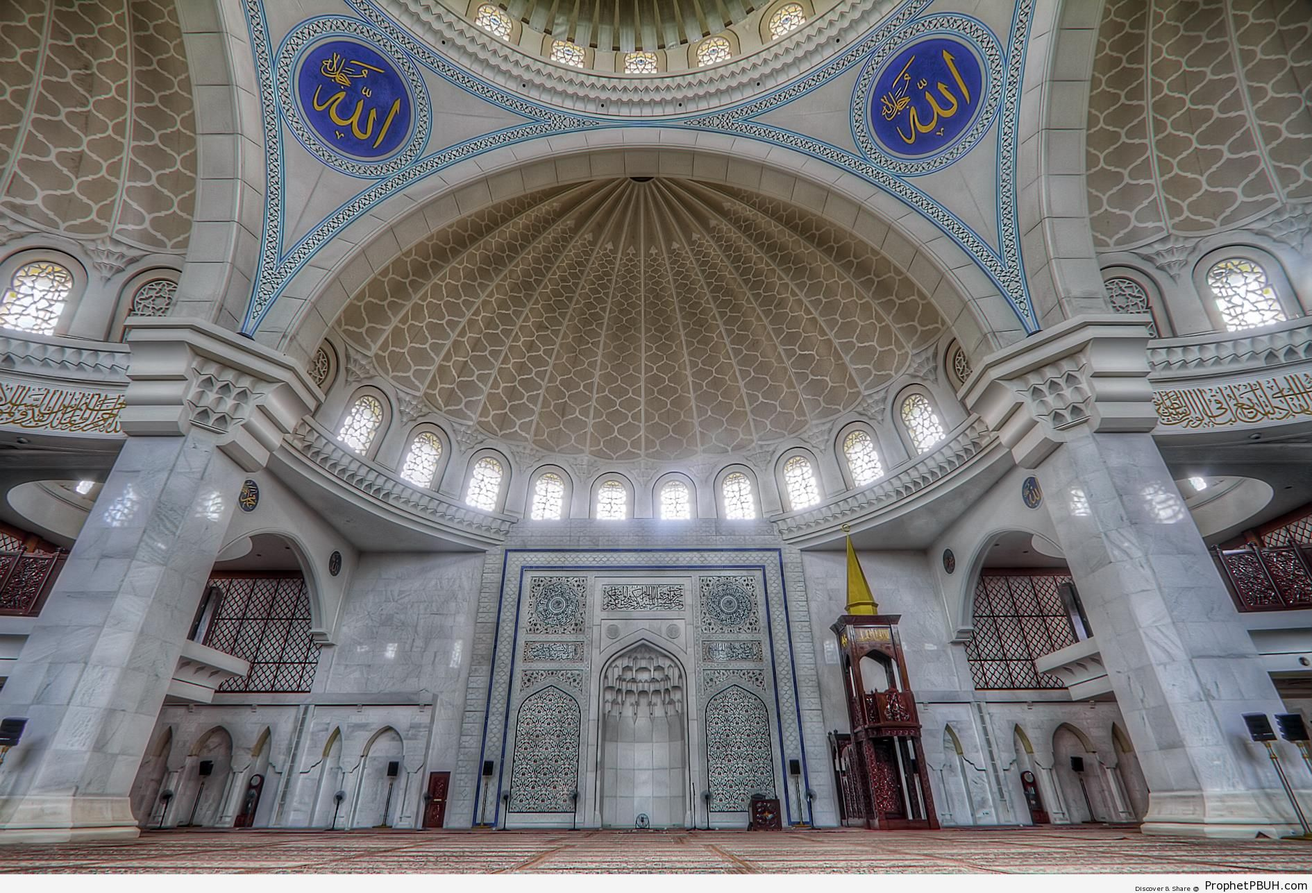 Prayer Hall and Mihrab of the Wilayah Masjid in Kuala Lampur, Malaysia - Allah Calligraphy and Typography