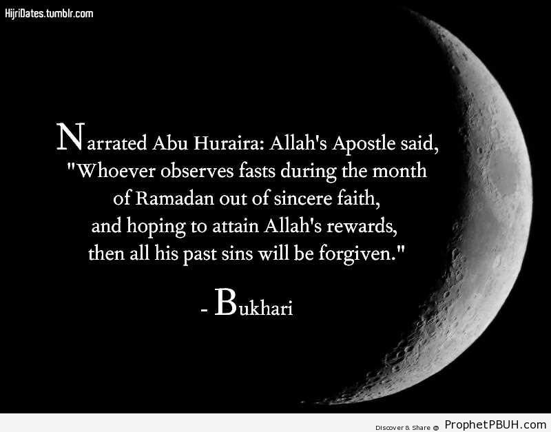 Prophet Muhammad ï·º on Allah-s Rewards for Sincere Fasts - Hadith -Picture