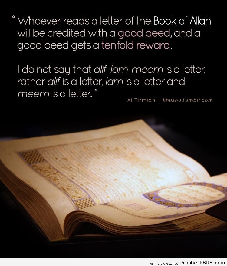 Prophet Muhammad Quote on the Rewards for Reading Quran - Hadith