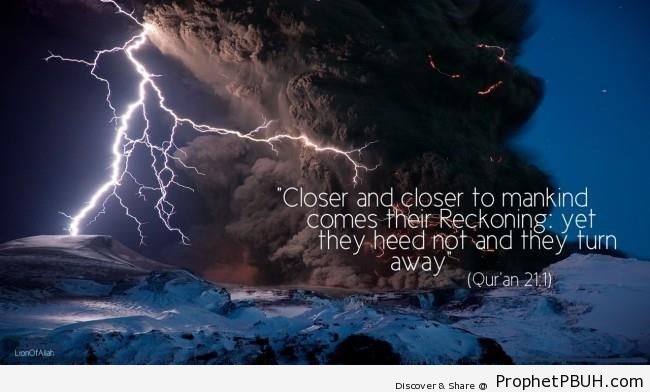 Quran 21-1 on Volcano & Lightning Photo - Islamic Posters