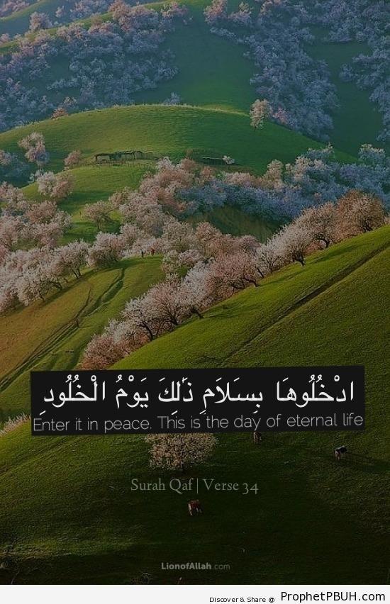 Quran 50-34 - Islamic Quotes