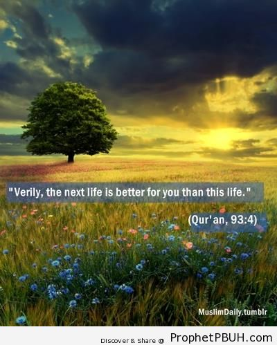 Quran 93-4 (Surat ad-Dhuha) on a Landscape at Sunset - Islamic Quotes About Akhirah (The Hereafter)