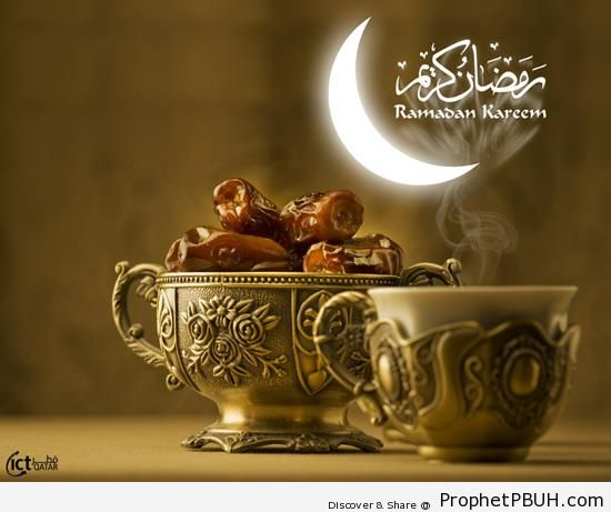 Ramadan Kareem with Dates and Incense - Drawings of Crescent Moons